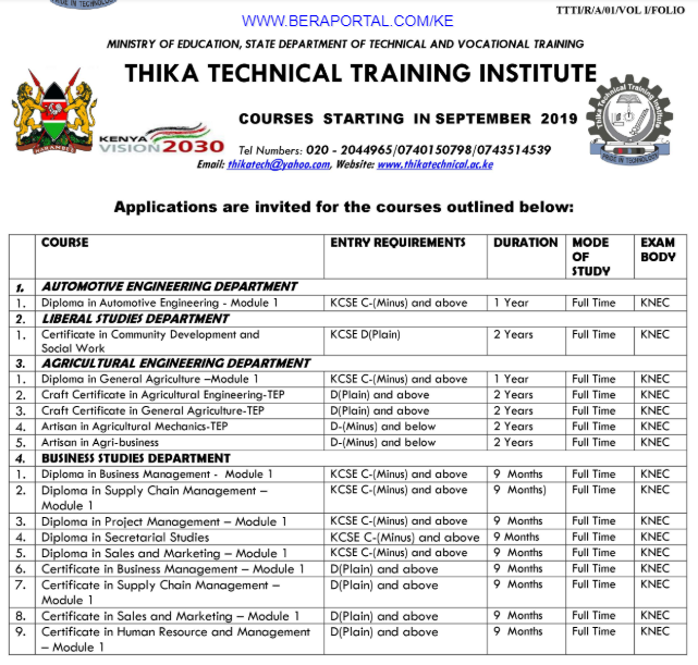 Thika TTI Course Schedules for registration